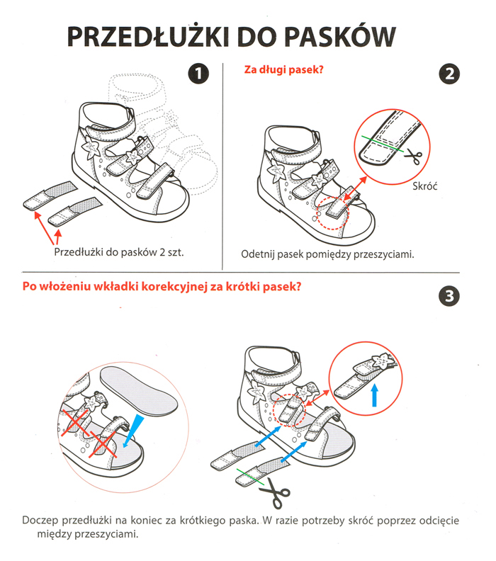 kobi, e-kobi, instrukcja stosowania przedłużek do pasków w butach profilaktycznym firmy BARTEKaów profilaktycznych firmy BARTEK
