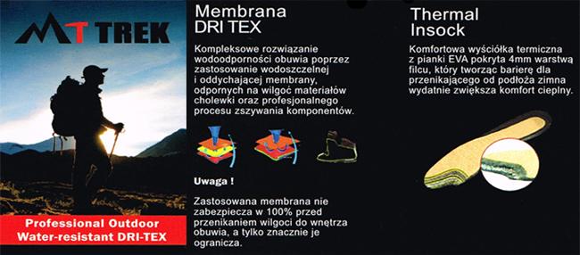 kobi, e-kobi, graficzne przedstawienie systemu membrany DRI TEX oraz wkładki Thermal Insock firmy MT TREKBioeco by Arka