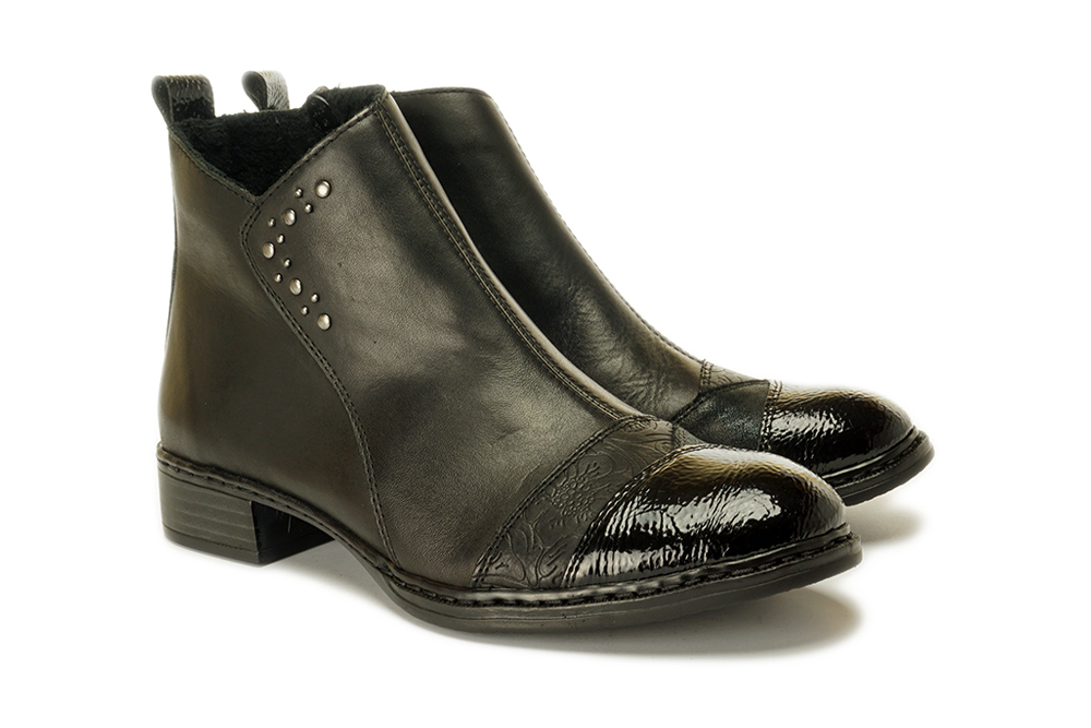 RIEKER 73477-00 black, botki damskie, sklep internetowy e-kobi.pl
