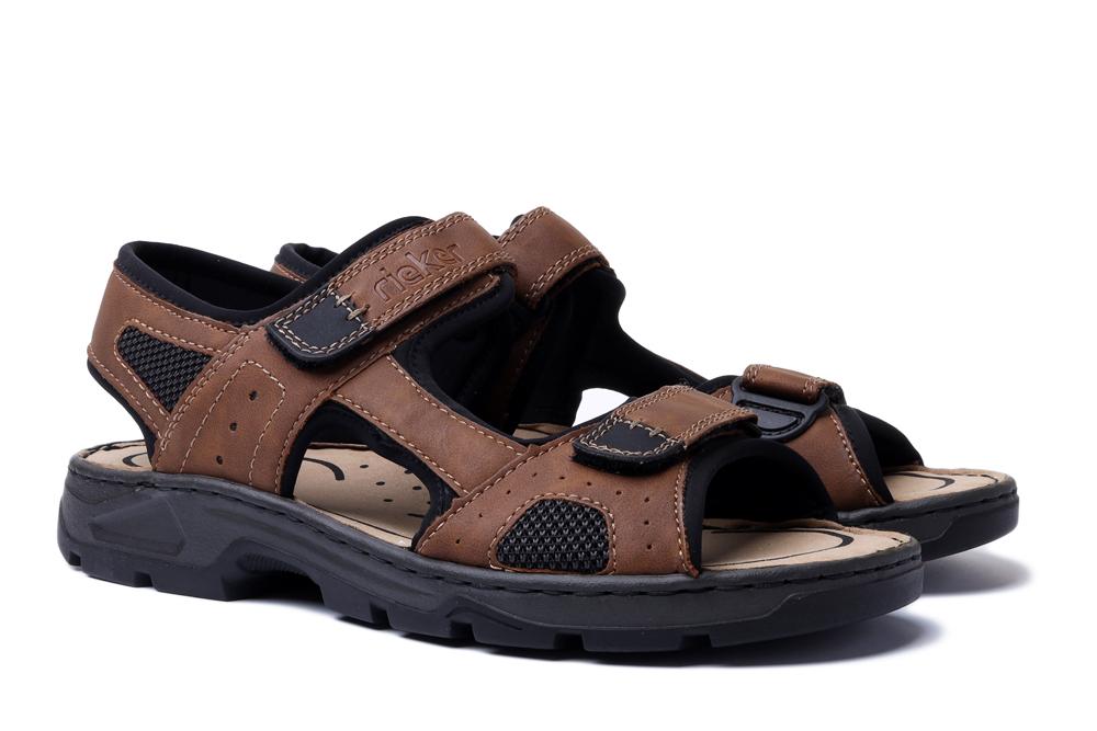 RIEKER 26156-25 brown combination, sandały męskie, sklep internetowy e-kobi.pl