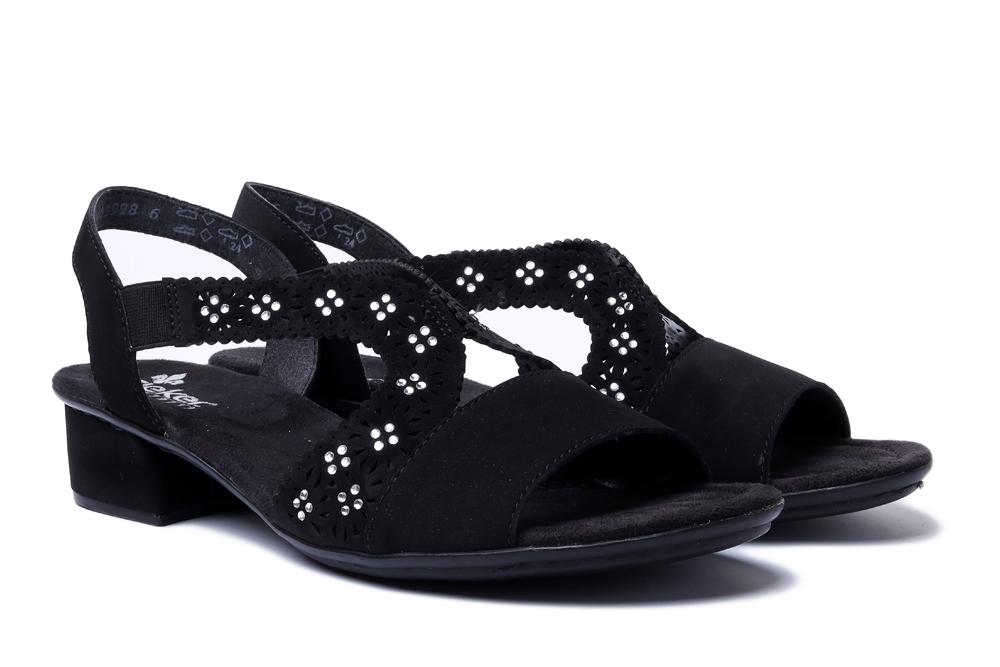 RIEKER V6216-00 black, sandały damskie, sklep internetowy e-kobi.pl