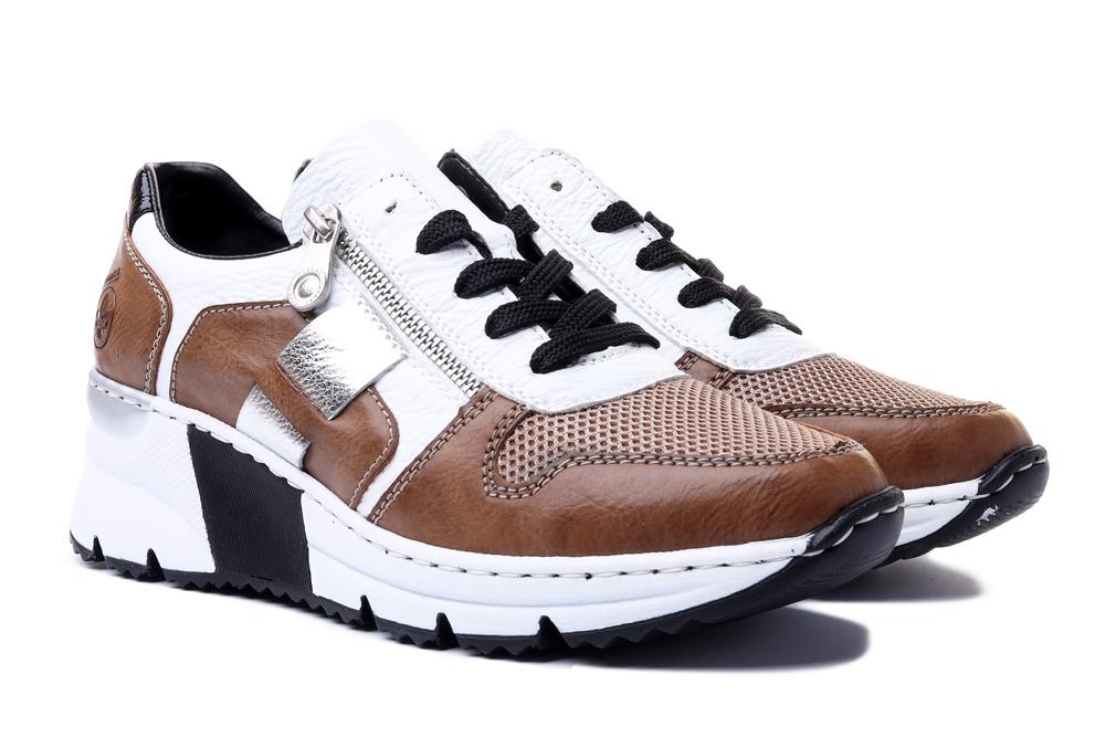 RIEKER N6312-65 sneaker beige combination, półbuty damskie, sklep internetowy e-kobi.pl