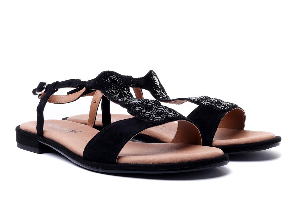 CAPRICE 28100-26 004 black suede, sandały damskie, sklep internetowy e-kobi.pl