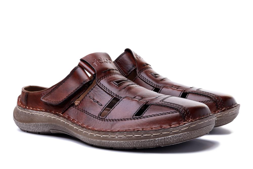 RIEKER 03085-24 brown, klapki męskie, sklep internetowy e-kobi.pl