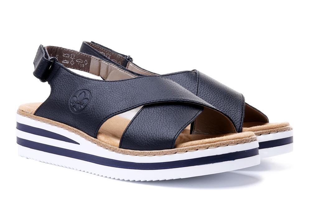 RIEKER V0271-14 blue, sandały damskie, sklep internetowy e-kobi.pl