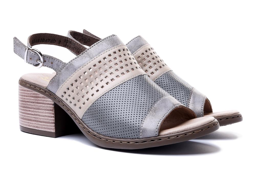 RIEKER V0575-40 grey combination, sandały damskie, sklep internetowy e-kobi.pl