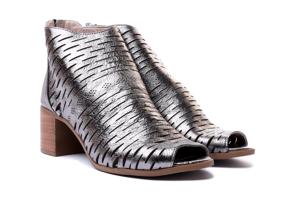 LANQIER 42C516 ciemny srebrny, sandały damskie, sklep internetowy e-kobi.pl