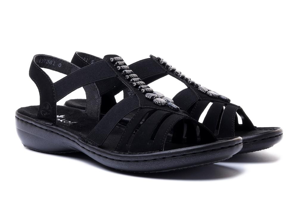 RIEKER 60806-00 black, sandały damskie, sklep internetowy e-kobi.pl