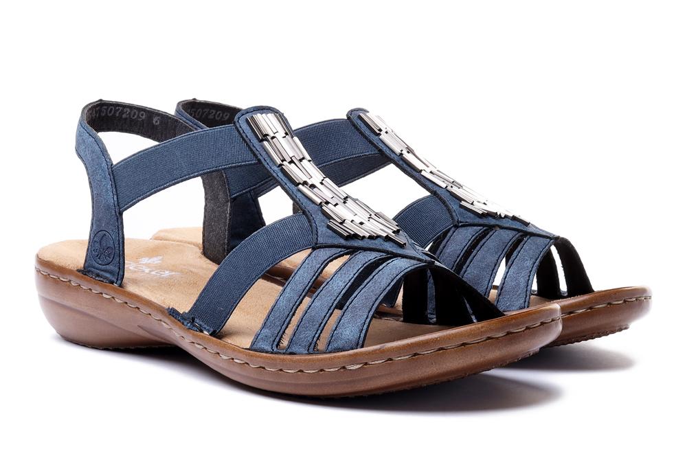 RIEKER 60800-14 blue, sandały damskie, sklep internetowy e-kobi.pl
