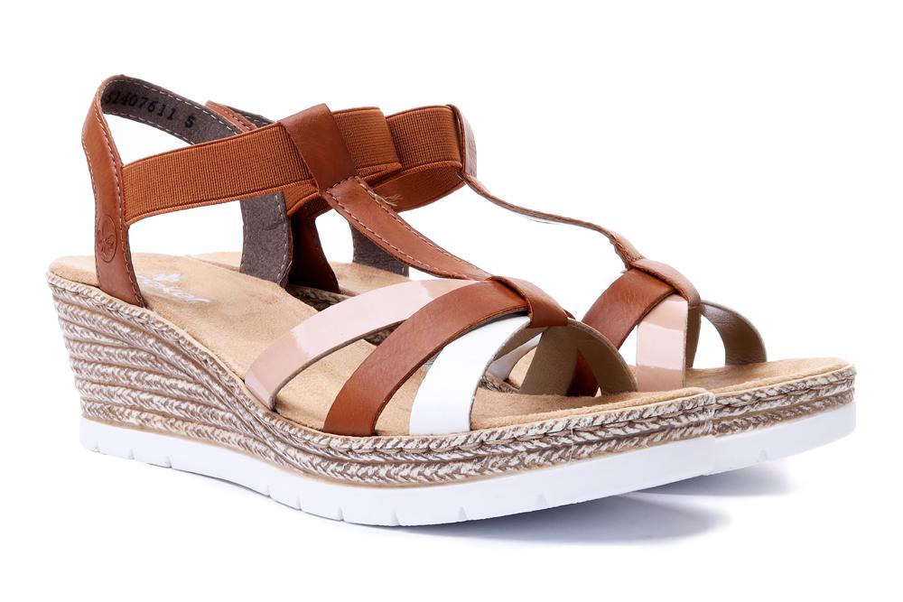 RIEKER 61995-81 brown combination, sandały damskie, sklep internetowy e-kobi.pl