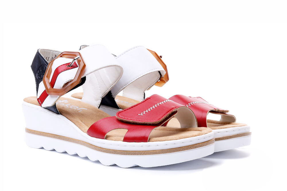 RIEKER 67476-33 red combination, sandały damskie, sklep internetowy e-kobi.pl