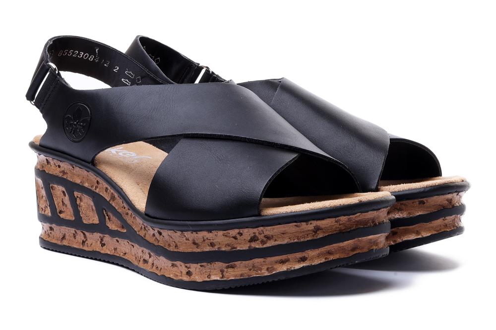 RIEKER 68189-00 black, sandały damskie, sklep internetowy e-kobi.pl