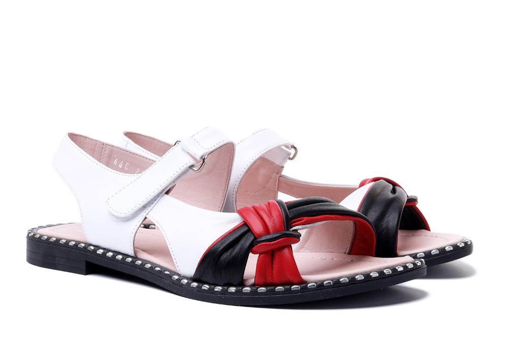 LANQIER 44C2947 beyaz-siyah-kirmizi, sandały damskie, sklep internetowy e-kobi.pl