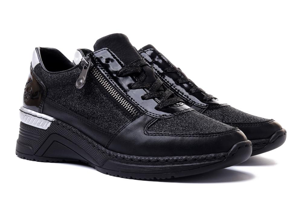 RIEKER N4313-00 sneaker black, półbuty damskie, sklep internetowy e-kobi.pl