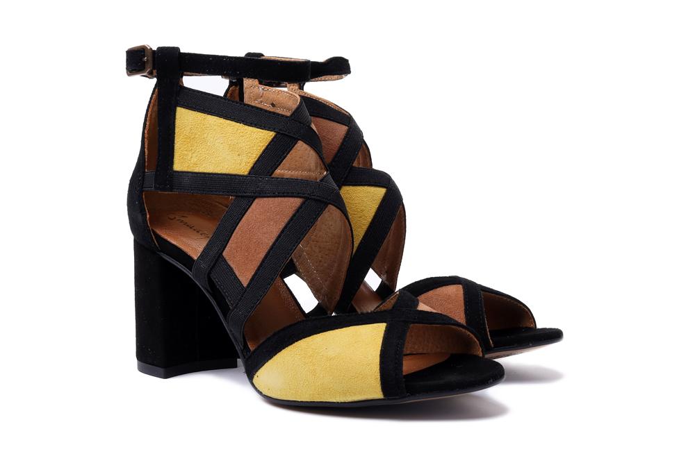 MACIEJKA 05181-07/00-5 żółty, rudy, czarny, sandały damskie, sklep internetowy e-kobi.pl