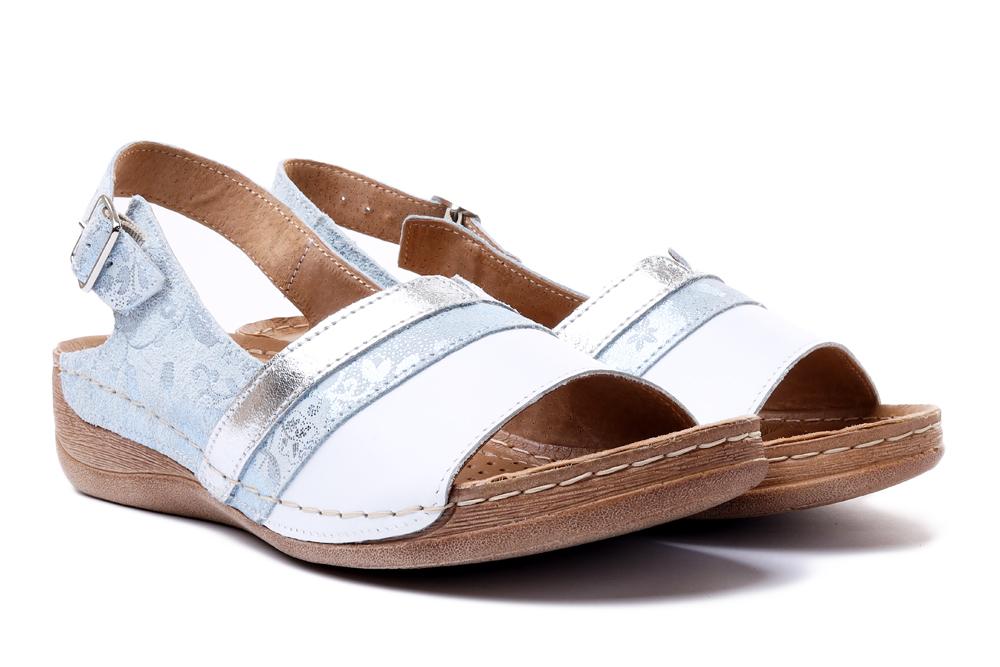 ŁUKBUT 1104 biało-srebrny, sandały damskie, sklep internetowy e-kobi.pl