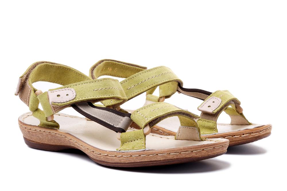 ŁUKBUT 636 jasny zielony welur, sandały damskie, sklep internetowy e-kobi.pl