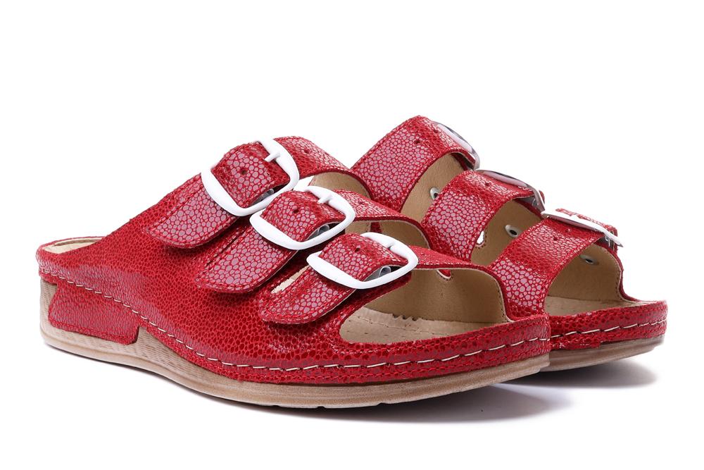 SOLO 0161 czerwony, klapki profilaktyczne damskie, sklep internetowy e-kobi.pl