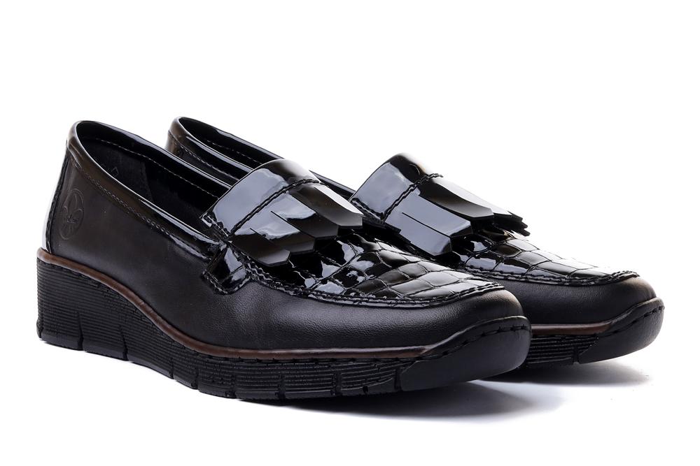 RIEKER 53764-00 black, pólbuty/mokasyny damskie, sklep internetowy e-kobi.pl