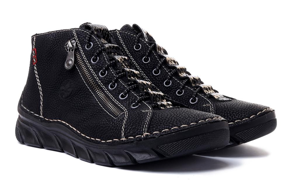 RIEKER 55048-00 black, trzewiki damskie, sklep internetowy e-kobi.pl