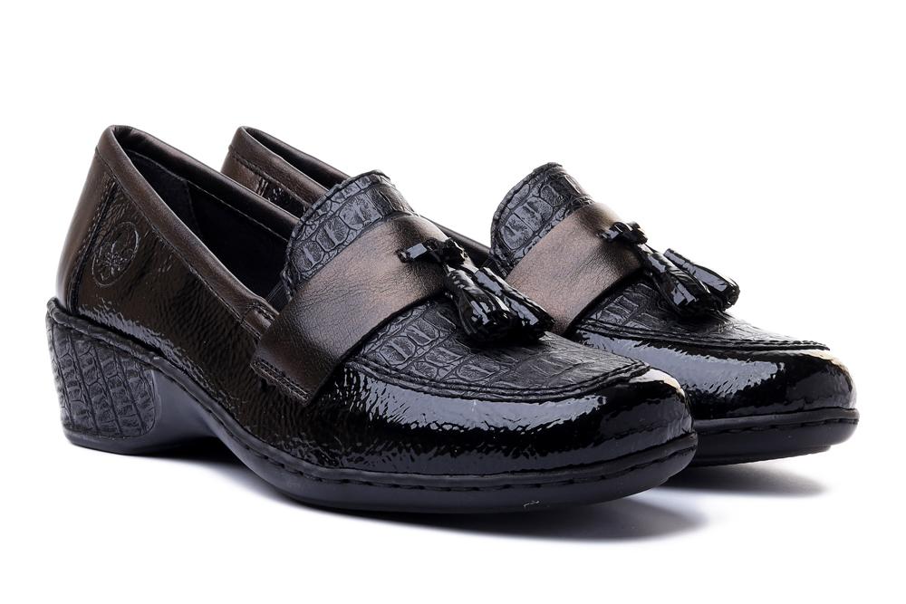 RIEKER 47171-00 black, półbuty/mokasyny damskie, sklep internetowy e-kobi.pl