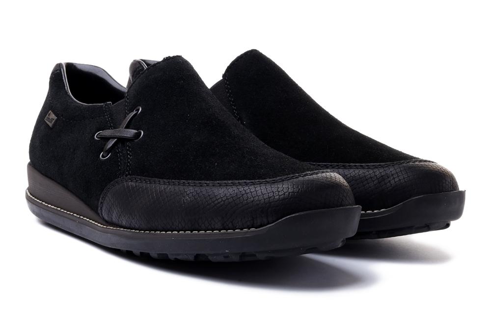 RIEKER 44259-00 black, półbuty/mokasyny damskie, sklep internetowy e-kobi.pl