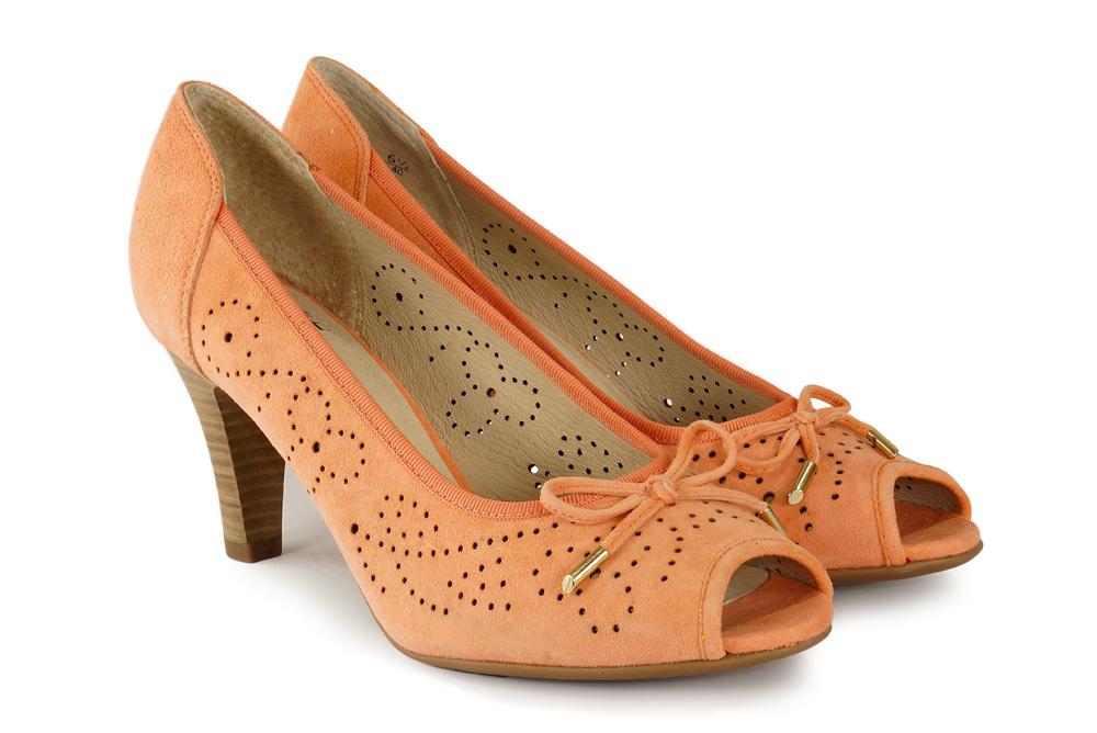 CAPRICE 29300-22 624 apricot suede, czółenka damskie, sklep internetowy e-kobi.pl